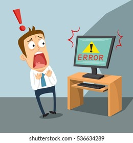 Businessman shocked with computer error, vector illustration cartoon