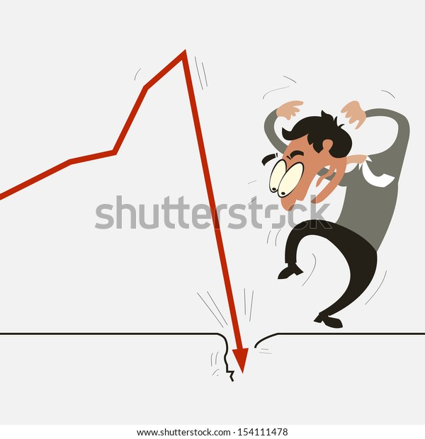 Businessman shocking with downturn economic crisis representing with falling graph.