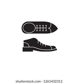 Businessman shoes black vector concept icon. Businessman shoes flat illustration, sign