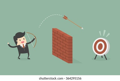 Businessman Shoot Arrow Over The Wall To The Target. Business Concept Cartoon Illustration.