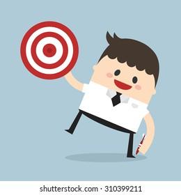 Businessman shoot target, flat design