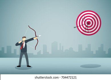 Businessman shooting arrow bow to arrow target in sane point with professionnal skill.