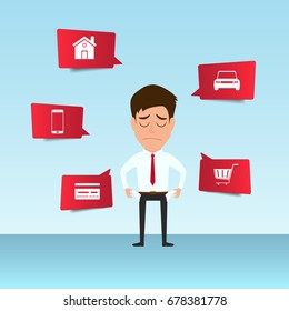 Businessman show his empty pocket feels headache and worried about paying a lot of bills. Businessman no money. debt concept. Cartoon Vector Illustration.
