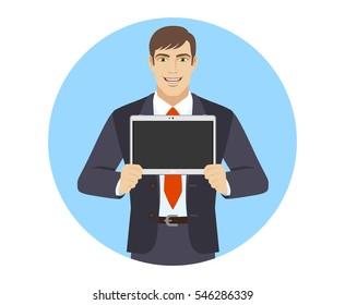 Businessman showing blank digital tablet PC. Portrait of businessman in a flat style. Vector illustration.