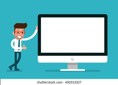 Businessman showing blank modern computer screen, flat style cartoon.