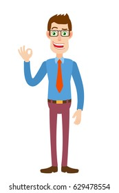 Businessman showing a okay hand sign. Full length portrait of Cartoon Businessman Character. Vector illustration in a flat style.