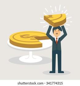 A businessman showing a piece of money. Marketing concept illustration.