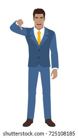 Businessman showing thumb down gesture as rejection symbol. Full length portrait of Black Business Man in a flat style. Vector illustration.