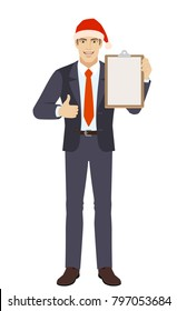 Businessman showing thumb up and holding clipboard. Full length portrait of businessman in a flat style. Vector illustration.