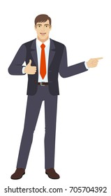 Businessman showing thumb up and pointing somewhere. Full length portrait of businessman character in a flat style. Vector illustration.