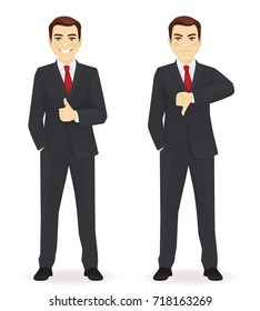 Businessman showing thumbs