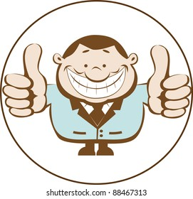 Businessman showing thumbs up. Vector illustration
