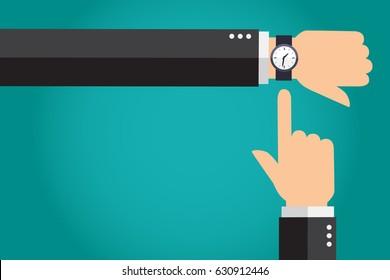 Empresario mostrando tiempo en su reloj moderno, con sus manos. Ilustración del vector