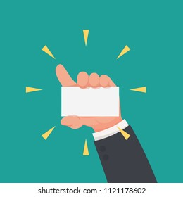 Businessman showing white blank card concept vector