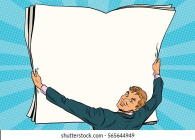 Businessman shows blank paper poster. Pop art retro vector illustration. Copy space background