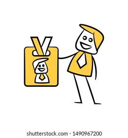 businessman shows id card, yellow stick figure