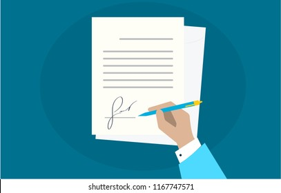 Businessman sign document. Man hand with pen and contract. process of business financial agreement. Document with fake signature. Desk dark blue contrast. Vector illustration top view