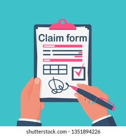 Businessman signing insurance claim form. Signature on piece of paper with check mark. Legal confirmation. Vector illustration flat design. Isolated on background. Official document.