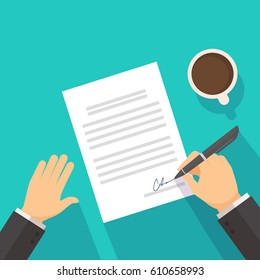 Businessman signing on the contract agreement document ,a cup of coffee on the desk in background vector flat style iilustration
