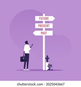 Businessman and a signpost arrows showing three different options, past, present and future course, Choose journey direction