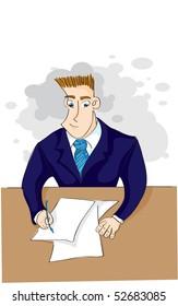businessman signs a paper