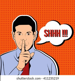 Businessman silent quiet gesture with finger. Man asking for silence pop art illustration
