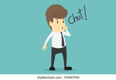 Businessman silent quiet gesture with finger.Cartoon of business success is the concept of the man characters business, the mood of people, can be used as a background, banner. illustration vector