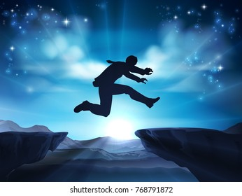 A businessman in silhouette jumping across a mountain or cliff top gap. A concept for taking a leap of faith, being courageous or taking high risks in business.