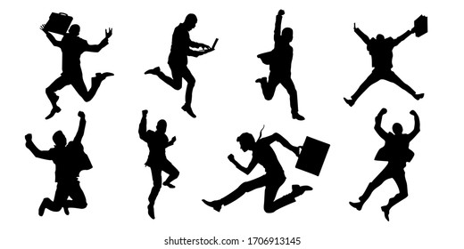 Businessman silhouette. Manager, boss, worker success expression. worker and business silhouettes with pose, and styles. Vector illustration