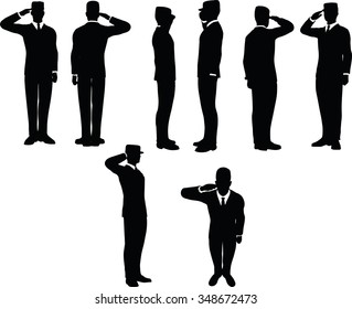 businessman silhouette wih army cap in saluting pose isolated on white background