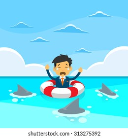 Businessman Sing Sea Water Lifebuoy Sharks Around Concept Financial Crisis Flat Vector Illustration