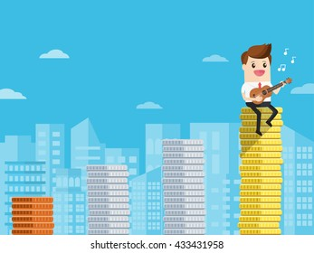businessman or singing musician playing ukulele sitting on bar graph of coins.