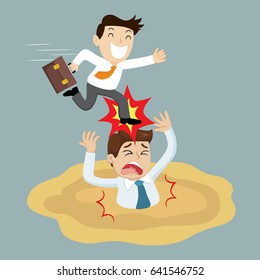 Businessman sinking into quicksand and getting aggravate stamped by foot, vector illustration cartoon