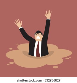 Businessman sinking in a puddle of quicksand. Business concept