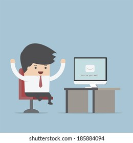 Businessman sit in front of computer with envelope in monitor, You've Got Mail Concept, VECTOR, EPS10