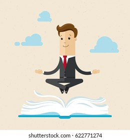 Businessman sit in lotus position above a large book and meditate like a yogi. Self-development, learning, world cognition. Vector, illustration, flat