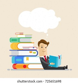 Businessman sit on the floor, reclined  on pile of books, and read a book. Vector, illustration, flat