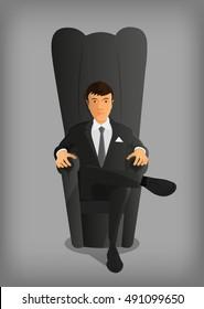 businessman sits in an armchair