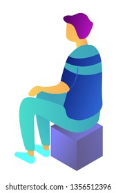Businessman sitting back view on a box thinking, tiny people isometric 3D illustration. Manager working, office meeting, employee on cube and breaktime concept. Isolated on white background.