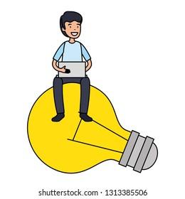 businessman sitting in bulb using laptop