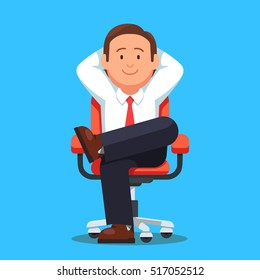 Businessman sitting calmly on a casters chair legs crossed and hands behind head. Business boss man resting in a calm pose. Flat style vector illustration isolated on white background.