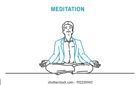 Businessman sitting closed eyes, crossed legs, relaxation gesture, making meditation. Outline, thin art line, doodle, hand drawn, sketch, cartoon, character, simple style.