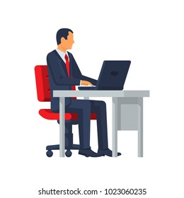 Businessman sitting at desk working on laptop. Vector illustration flat design. Isolated on white background. Office worker working paperwork. Computer on table.