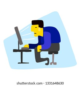 Businessman sitting in front of the computer.Cartoon character. Stock vector illustration in flat design.