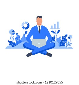 Businessman sitting with laptop surrounded by plants with graphs. Concept for growing business, investment, getting profit, analytics. Flat style vector illustration isolated on white