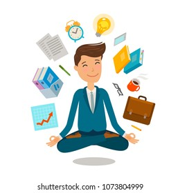 Businessman sitting in lotus pose. Business, office concept. Cartoon vector illustration