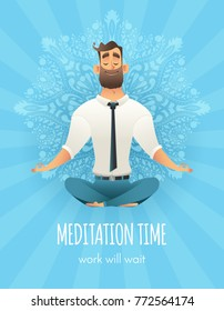 Businessman sitting in a lotus pose. Manager meditation of mandala pattern on background. The concept of business yoga