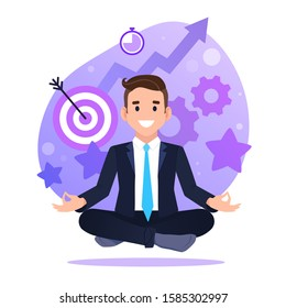 Businessman sitting in lotus pose. self management, time management, self discipline concept illustration. landing page template.