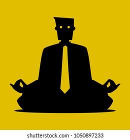 Businessman Sitting and Meditating