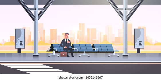 businessman sitting modern bus stop business man with suitcase waiting public transport on airport station cityscape background flat horizontal full length